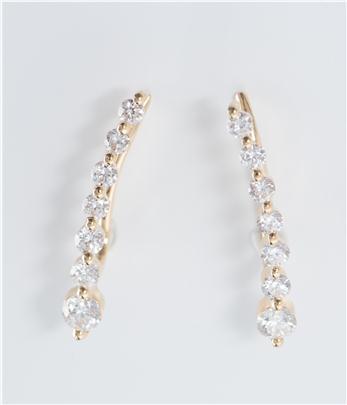 18K 39份鑽石耳環 白金/玫瑰金/黃金 - 字印:750