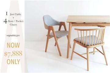 1+4 餐桌 COMBO | 北美白樸木及胡桃木餐桌系列