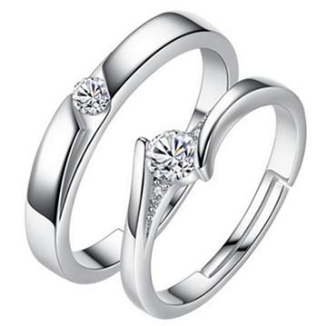 925純銀 閃鑽情侶對戒﹐情人節最佳禮物
