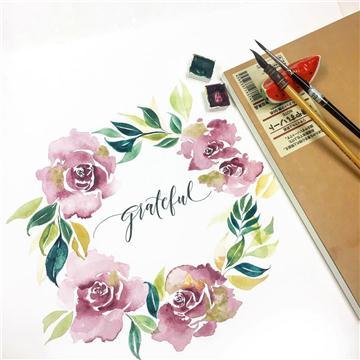 水彩花環工作坊/Floral wreath Workshop