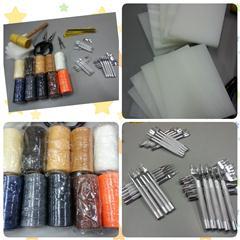 皮革工具套裝 DIY leather tool set 基本套裝 平斬 蠟線 墊板 膠鎚 間距規 手縫針 剪刀