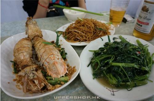 攋尿蝦+空心菜+炒粉