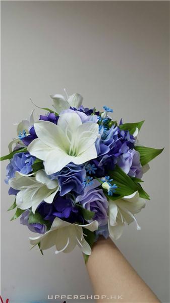 百合紫藍玫瑰繡球花絲花花球