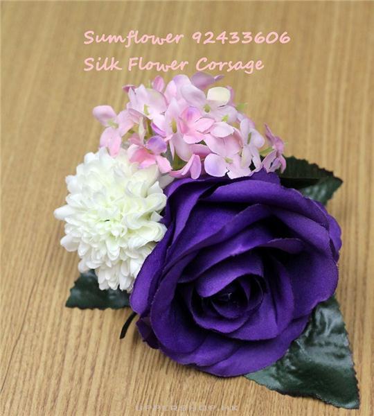 絲花深紫玫瑰襟花