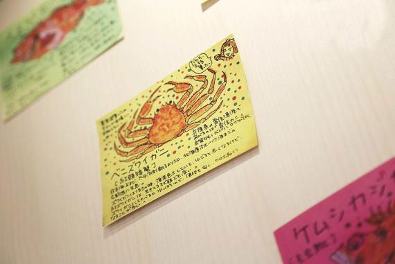 墙上的手绘图,是阿邦向京都某料理店的老板借用,仔细说明了各种海鲜